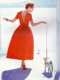 The Pug is the perfect accessory. The dress would be simply fabulous if it was hot pink!