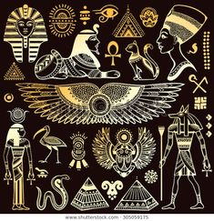 Illustration of Set of Vector isolated Egypt symbols and objects vector art, clipart and stock vectors. Egyptian Symbols, Ancient Symbols, Egyptian Art, Mayan Symbols, Viking Symbols, Viking Runes, Egyptian Eye Tattoos, Egyptian Anubis, Egyptian Mythology