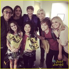 Raini Rodriguez gets surrounded by her Austin & Ally cast mates in this new shot from the live taping on Friday night (November 14) in Los Angeles.