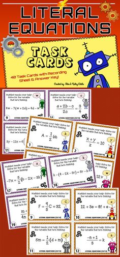 This Literal Equations pack contains a total of forty (40) task cards divided into two (2) sets. $