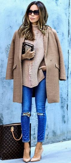 trendy+outfit+idea+:+brown+coat+++sweater+++heels+++ripped+jeans