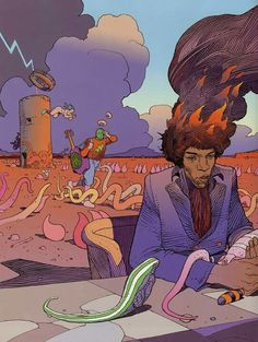 Jimi's on Fire by Moebius
