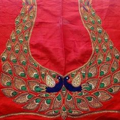 Peacock inspired embroidery work  #Embroidery,#peacock,#blouse work,#beautiful work,#blouse Peacock Blouse Designs, Peacock Embroidery Designs, Cutwork Blouse Designs, Wedding Saree Blouse Designs, Pattu Saree Blouse Designs, Kurti Embroidery Design, Fancy Blouse Designs, Aari Embroidery, Sari Blouse
