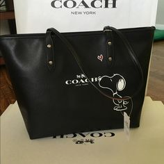 Coach snoopy black tote Limited edition super cute! Coach Bags Shoulder Bags
