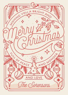 """Merry Little Lines"" - Modern Holiday Cards in Santa Claus by GeekInk Design."