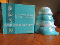 Pyrex Cinderella Amish Butterprint Turquoise Nesting Bowls w ORG Box Mint | eBay