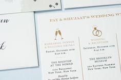Fourteen-Forty Wedding Invitation Weekend Events Card for Brooklyn Museum Wedding #fourteenforty #newyorkwedding #citywedding