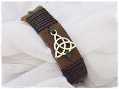 Mens Leather Cuff Bracelet Triquetra Leather by ChrisOsCreations, €10.00