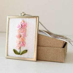 Pink Hollyhocks Necklace embroidered silk ribbon by bstudio, $45.00