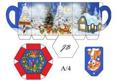 Printable mug shaped box with cute Christmas scene by JB
