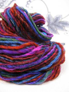 Drop Spindled ARtYaRN 'Dark Rainbow' handspun by Innerspiral, £15.50