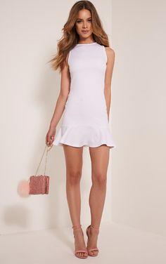 Amanie White Drop Hem Bodycon Dress