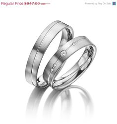 His and Her Wedding Ring Sets With Small by FirstClassJewelry His And Her Wedding Rings, Wedding Ring For Him, His And Hers Rings, Wedding Band Sets, Weeding Rings Sets, Wedding Ring Designs, Wedding Jewelry, Wedding Ideas, Couple Bands
