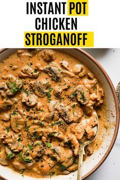 Instant Pot Dinner Recipes, Supper Recipes, Lunch Recipes, Easy Dinner Recipes, Yummy Chicken Recipes, Yum Yum Chicken, Pasta Recipes, Yummy Food, Chicken Stroganoff
