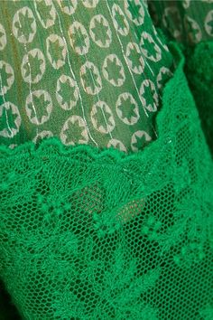 Green and white silk-blend georgette, green cotton-lace  Slips on  96% silk, 4% polyester; trim: 100% cotton; lining: 100% silk Dry clean Made in Italy