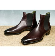 Handmade Men Dark Burgundy Chelsea Leather Boots, Men Chelsea Boot - Boots