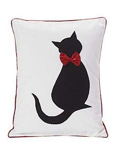 MICHELLE MASON Appliqued Cat Cushion. Pretty!