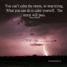 Lessons Learned in Life | What you can do is calm yourself.