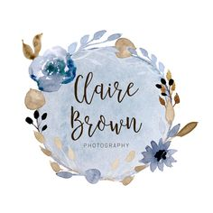 Blue and Brown Watercolor Photography Logo  by jenlaurendesigns