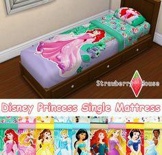 """Strawberryhousesims: """"E agora para a parte 2 do jogo da princesa de Disney!  • Compatível com o Jogo de Base • Requer uma malha por @ veranka-s4cc • O colchão de criança correspondente pode ser encontrado aqui.  DOWNLOAD: [no meu blog] """""""