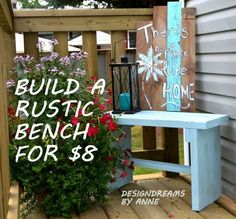Build a rustic bench for only $8.00 ~ it would be fun to make a bunch of these for the area around a fire pit.
