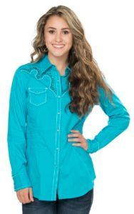 6546b531 Ariat Women's Turquoise Willows with Retro Embroidery and Studs Long Sleeve Western  Shirt | Cavender's