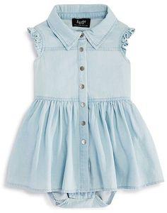 Bardot Junior Girls' Chambray Bodysuit Dress - Baby
