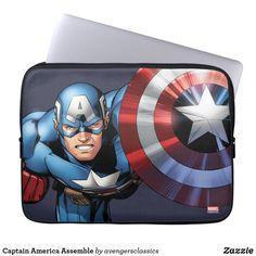 Shop Captain America Assemble Laptop Sleeve created by avengersclassics. Neoprene Laptop Sleeve, Laptop Sleeves, Black Widow Winter Soldier, Loki Thor, Loki Laufeyson, Computer Sleeve, Custom Laptop, Guardians Of The Galaxy, Day Use
