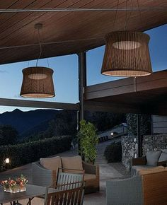 Syra 90 Outdoor Pendant Light features aluminum shade, hand wrapped with synthetic polyethylene fiber. This outdoor pendant light uses an LED light source protected by an opal matte glass plate. The canopy is in anticorrosive coated iron to provid. Outdoor Pendant Lighting, Outdoor Light Fixtures, Patio Lighting, Exterior Lighting, Outdoor Living Areas, Outdoor Spaces, Indoor Outdoor, Outdoor Decor, Outdoor Lamps
