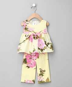 Take a look at this Yellow Palm Beach Floral Babydoll Top & Pants - Infant & Toddler by Mad Sky on #zulily today!