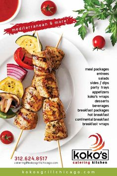 KoKo's Mediterranean Grille • Dine In - Carryout - Delivery - Catering • 1760 W. Chicago Ave. • 312.988.0088 Pork Kabobs, Chicken Kabobs, Tzatziki Sauce, Tahini Sauce, Potatoes In Oven, Breakfast Wraps, Spinach Pie, Veggie Wraps, Continental Breakfast