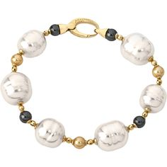 Majorica Dolce Vida Bracelet, Gold with Black and white pearls to purchase call 951-734-5989
