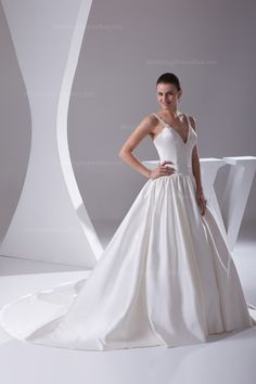 Elegant v-neck strapes satin with chapel train ball gown satin wedding dress,Style No.0bg1626,US$371.00   Read More:    http://www.weddingscasual.com/index.php?r=elegant-v-neck-strapes-satin-with-chapel-train-ball-gown-satin-wedding-dress-3w.html
