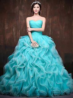 Kolacja oficjalna Sukienka Balowa W kształcie serca Tren kapliczny Satyna / Tiul…