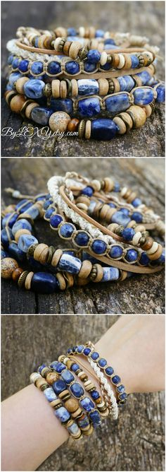 Beautiful blue boho bracelets.