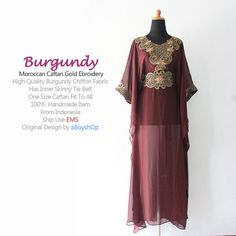 Moroccan Burgundy Chiffon Caftan Gold Embroidery Dubai by aboyshop, $44.44