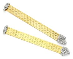 A Pair of Gold, Platinum and Diamond 'Ludo-Hexagone' Bracelets, by Van Cleef & Arpels, circa 1940. Available at FD Gallery. www.fd-inspired.com