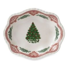 Johnson Brothers Old Britian Castles Christmas Tree Scalloped Bowl in Pink - BedBathandBeyond.com