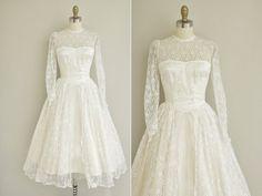 vintage 1950s wedding dress / 50s white tea par simplicityisbliss, $385.00