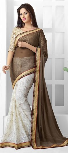 151918, Party Wear Sarees, Embroidered Sarees, Jacquard, Brasso, Stone, Zari, Border, Lace, Machine Embroidery, Sequence, Resham, White and Off White, Beige and Brown Color Family