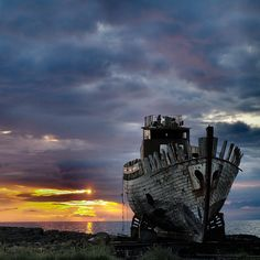 #sunset + #abandoned ship