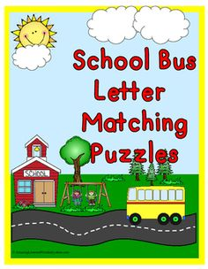 School Bus Letter Matching Puzzles: This set is in color and Black and White Print out color set on card stock paper and laminate, cut around bus and down dotted line, have kids match upper case to lower case to make a bus.  This teaches to recognize upper and lower case letters.  BW set: print out let kids color and cut. A fun take home activity they can do with there parents.