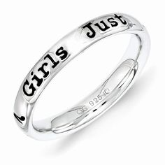 Sterling Silver Stackable Expressions Lyric Girls Just Wanna Ring QSK1551