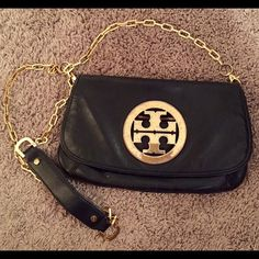 Tory Burch Logo Flap Clutch Black and gold clutch Tory Burch Bags Clutches & Wristlets