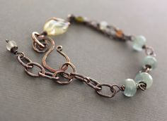 Last one Artisan linked copper bracelet with by IngoDesign