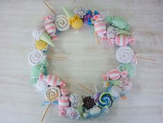 So cute! Made of pinwheel baby socks and bonbons of vests and some ice cream cones!
