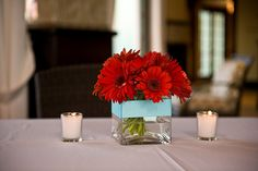 red and white gerber daisy centerpieces - Google Search