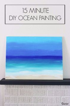 Diy Canvas Painting Ideas - 15 Minute Diy Ocean Painting - Cool And Easy Wall Art Ideas You Can Make On A Budget - Creative Arts And Crafts Ideas For Adults And Teens - Awesome Art For Living Room, Bedroom, Dorm And Apartment Decorating Simple Wall Art, Diy Wall Art, Diy Art, Diy Canvas, Canvas Art, Canvas Ideas, Painting Canvas, Canvas Quotes, Abstract Ocean Painting