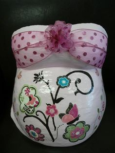 Belly Cast I painted with a pink floral faux applique design to match crib and nursery decor. This was cast at baby Impressions, 4D Ultrasound in Greenville, SC.