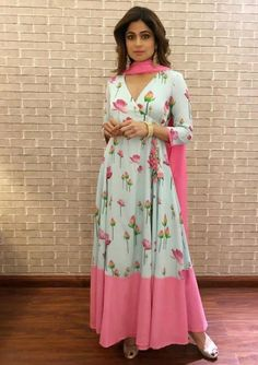 Designer Dresses in all sizes Indian Gowns Dresses, Pakistani Dresses, Indian Outfits, Salwar Designs, Long Kurta Designs, Angrakha Style, Casual Dresses, Fashion Dresses, Anarkali Dress